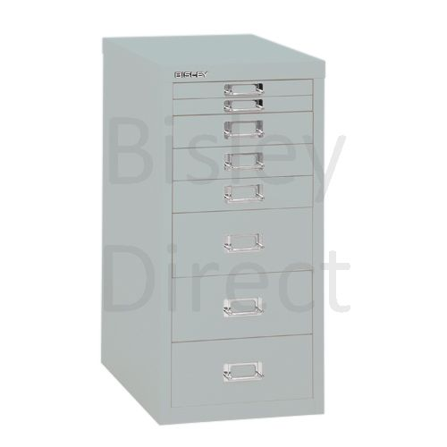Bisley 8 Drawer non-locking  Multidrawer for home or office H 59 W 28 D 38 cm H298BNL-arn-Silver